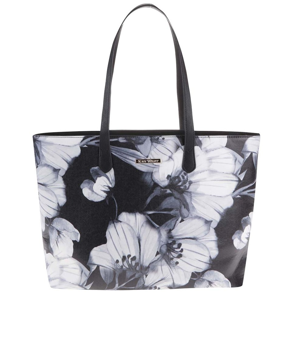 Bílo-černý květovaný shopper KEY WEST