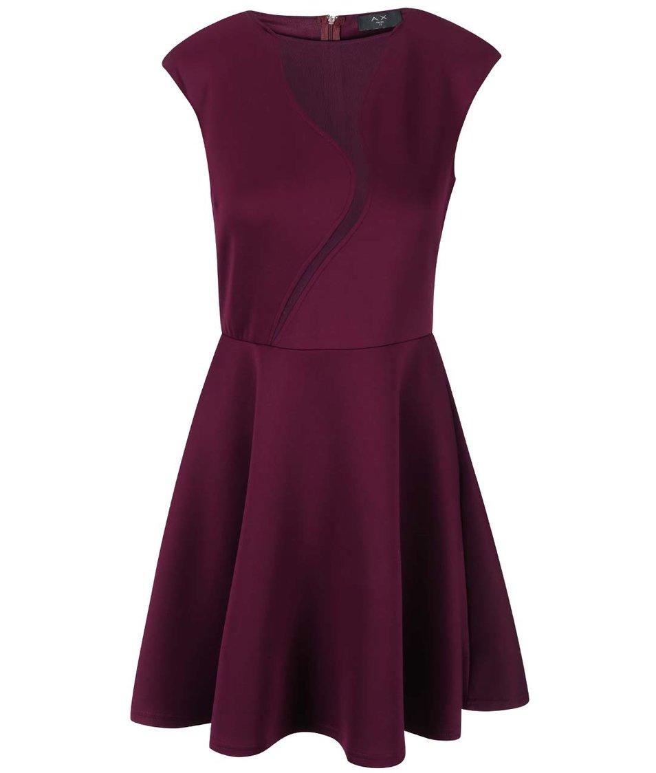 Fialové šaty s áčkovou sukní AX Paris