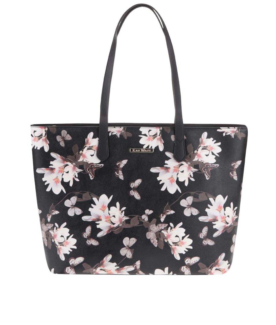 Černý květovaný shopper KEY WEST