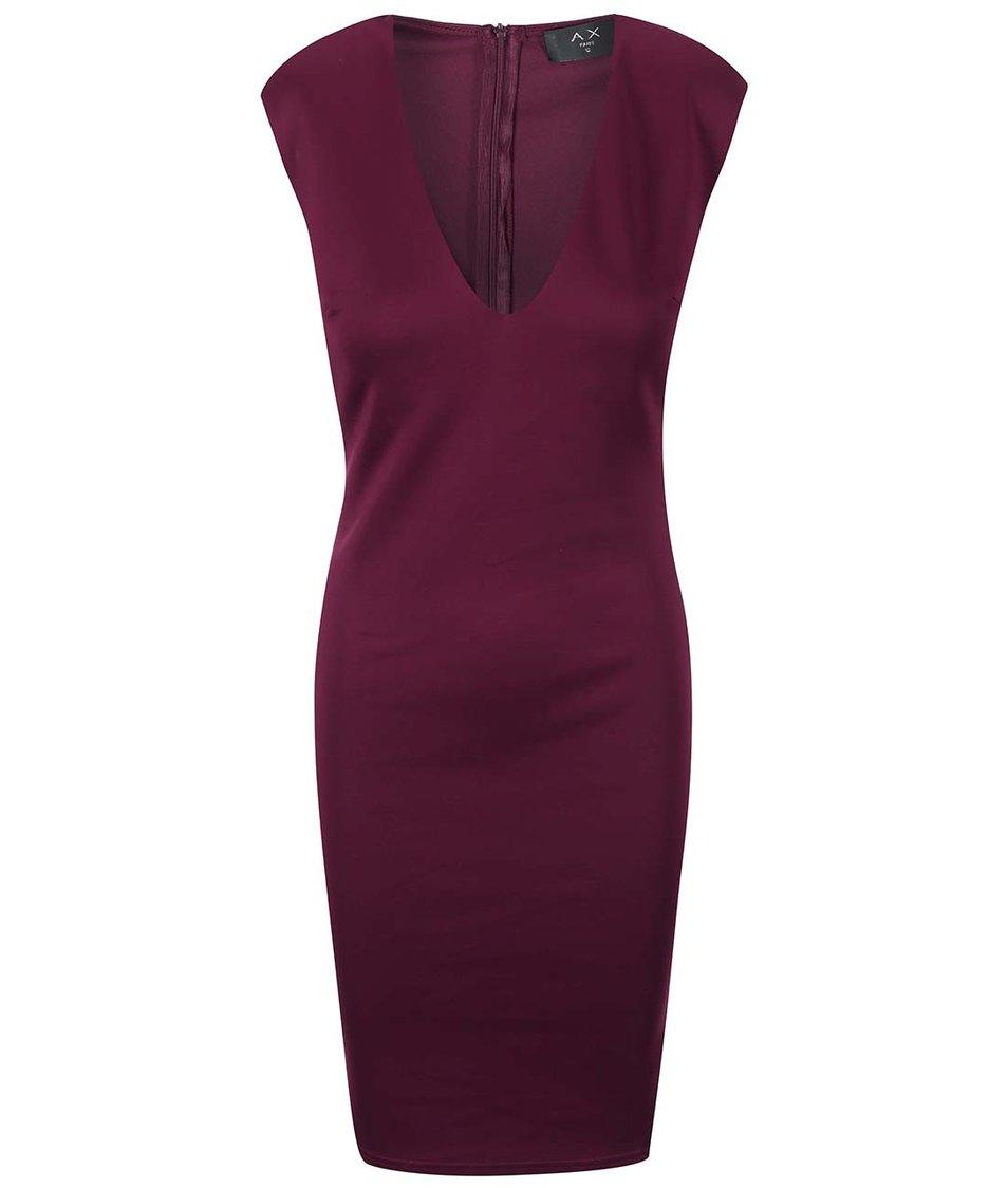 Fialové přiléhavé šaty s véčkovým výstřihem AX Paris