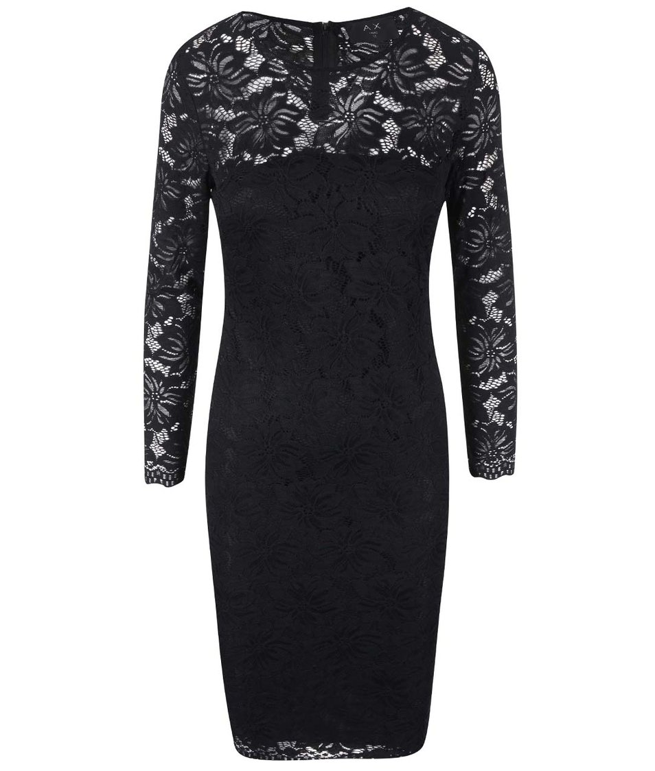 Černé krajkované šaty s dlouhými rukávy AX Paris
