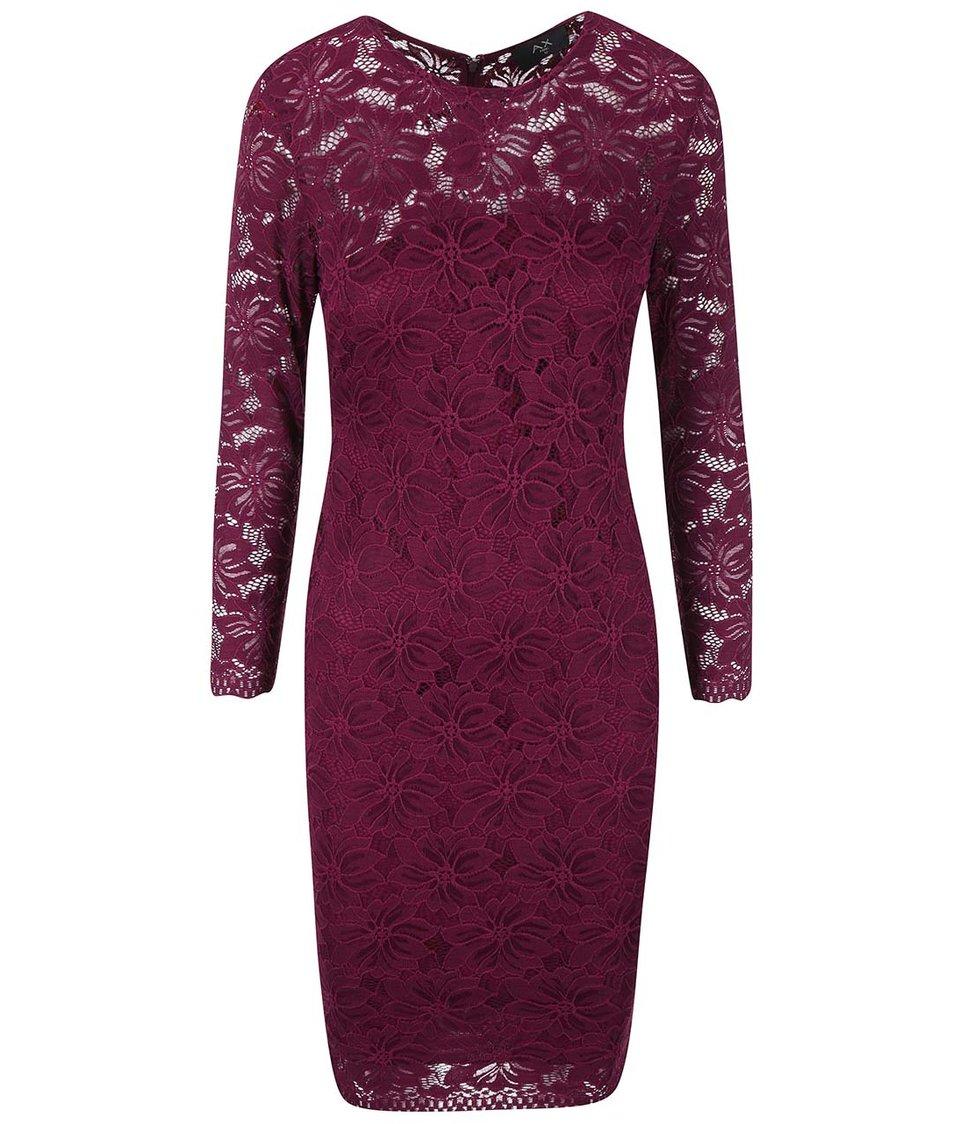 Fialové krajkované šaty s dlouhými rukávy AX Paris