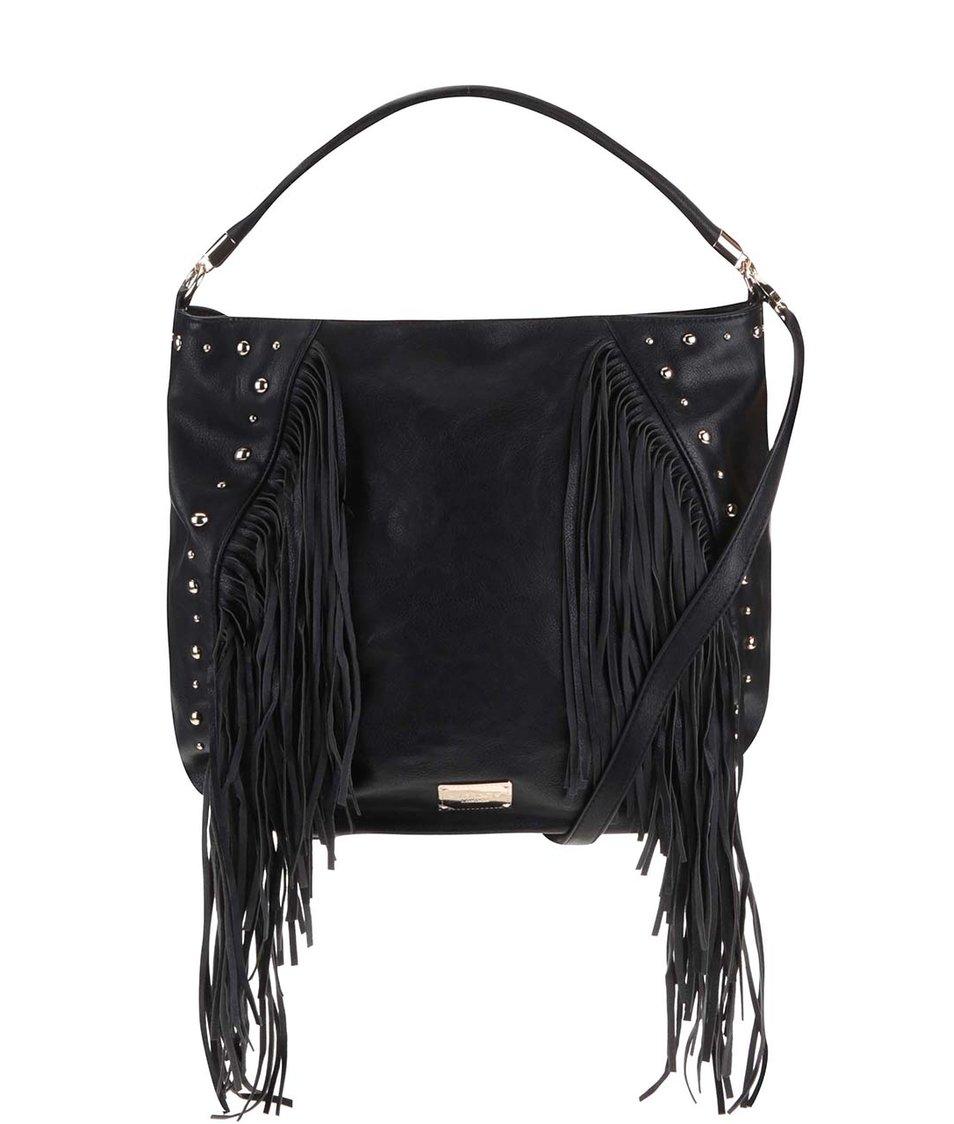 Černá velká kabelka s třásněmi LYDC