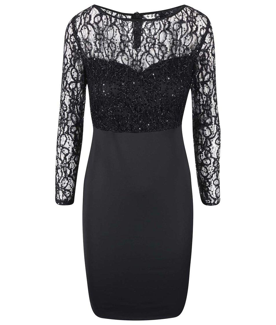 Černé šaty s krajkovým vrškem AX Paris