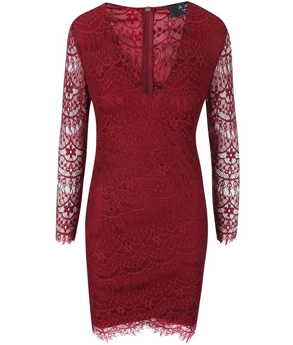Vínové krajkové šaty s hlubokým dekoltem a dlouhými rukávy AX Paris