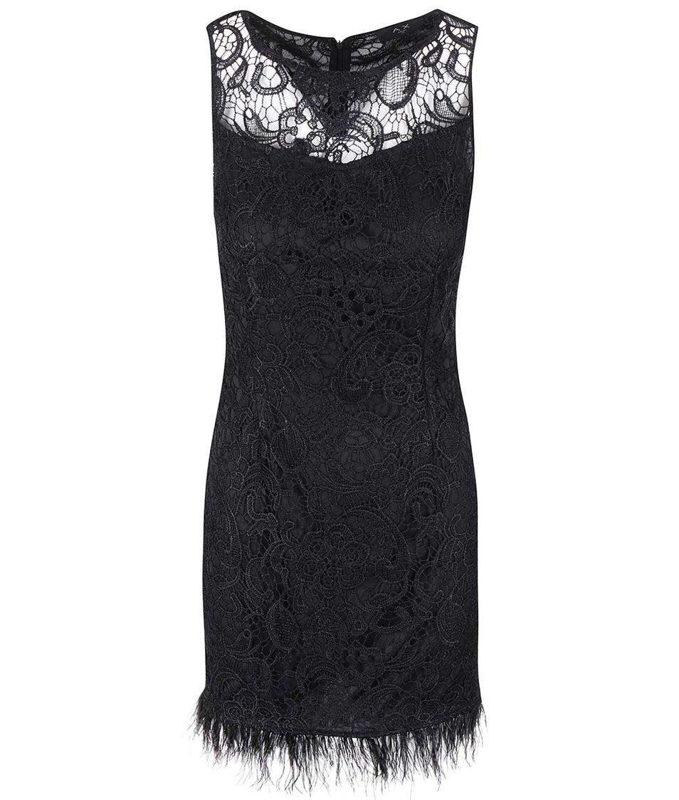 Černé krajkové šaty s peříčky AX Paris