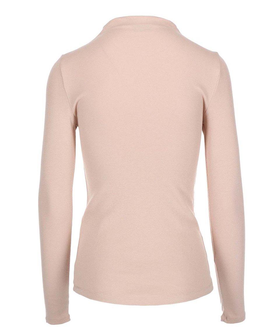 Béžové tričko s nízkým rolákem VILA Ran