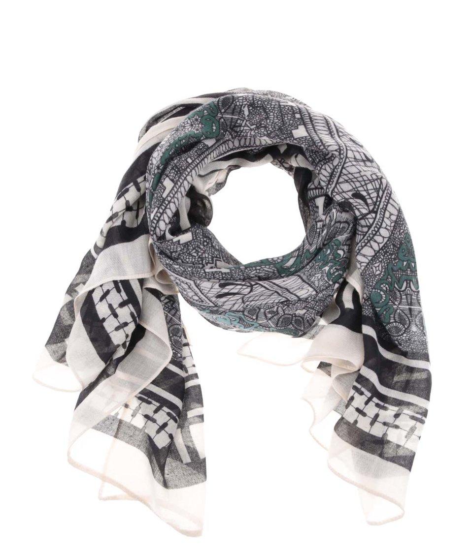 Černo-béžový vzorovaný šátek Pieces Valerie