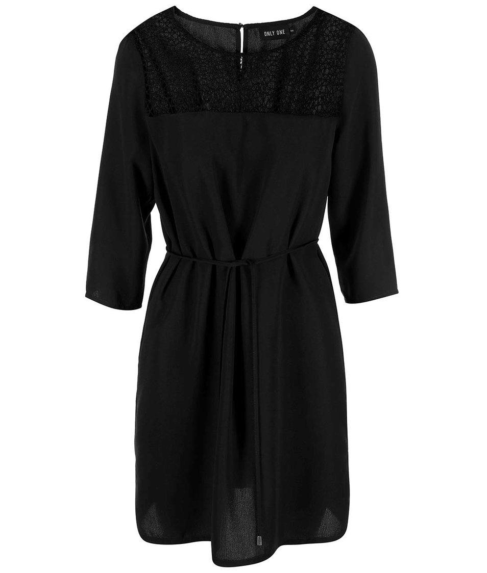Černé šaty s 3/4 rukávy ONLY Kado