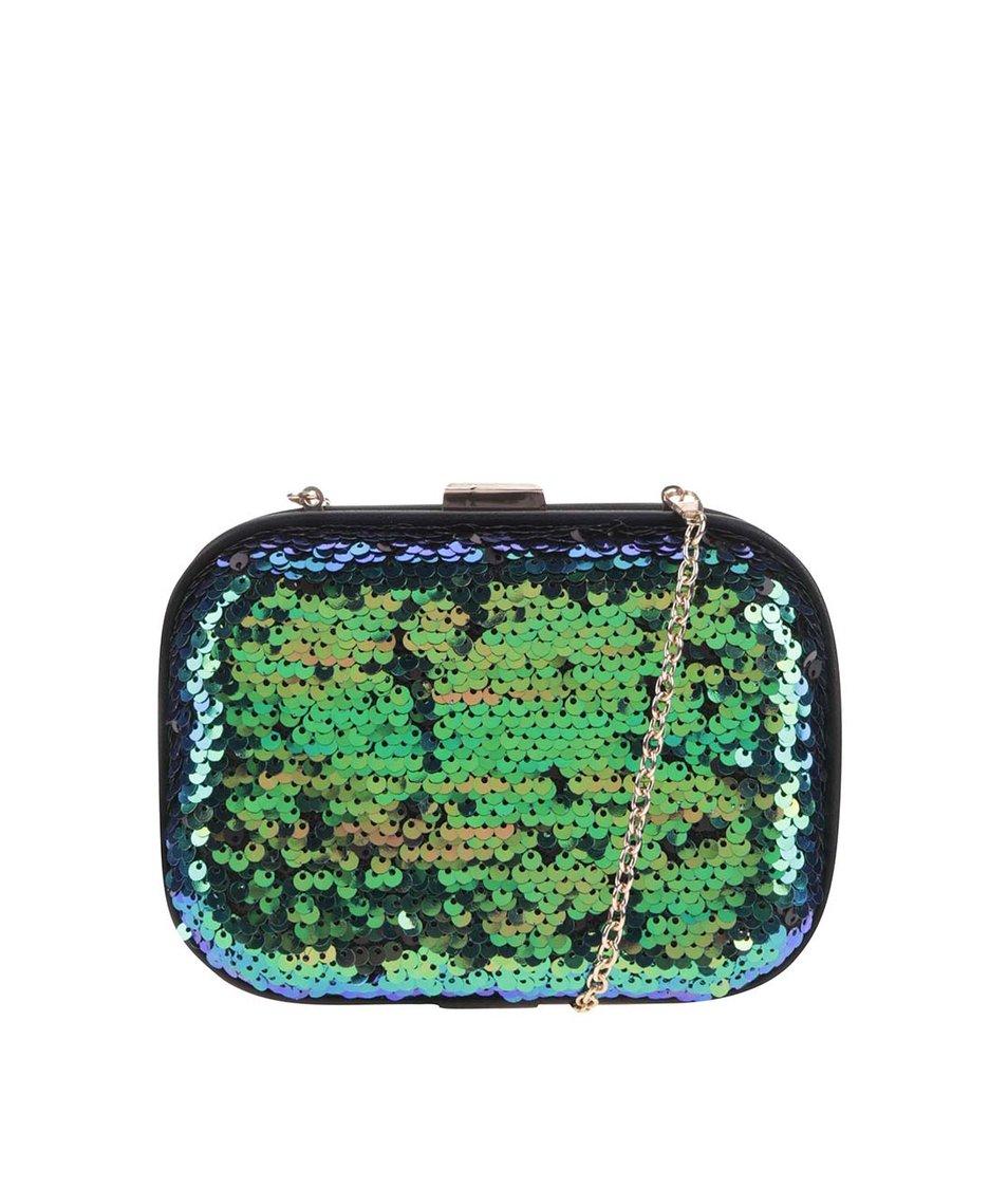 Modro-zelená flitrovaná kabelka s řetízkem LYDC