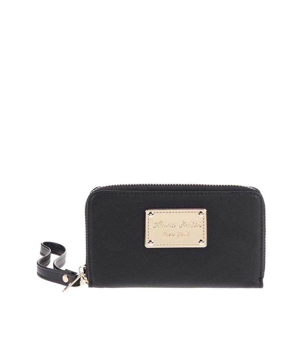 Černá peněženka s detaily v zlaté barvě Anna Smith