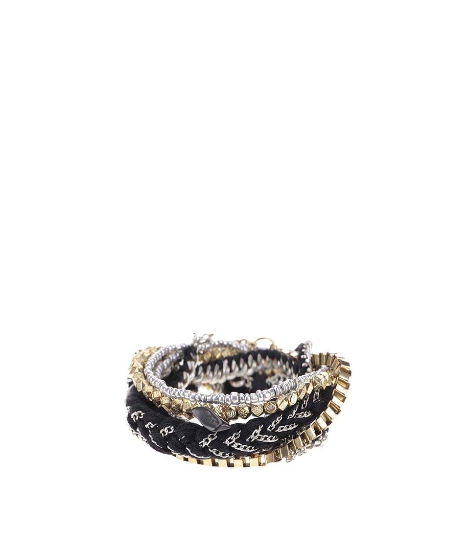 Set náramků v černo-stříbrno-zlaté barvě Pieces Vioka