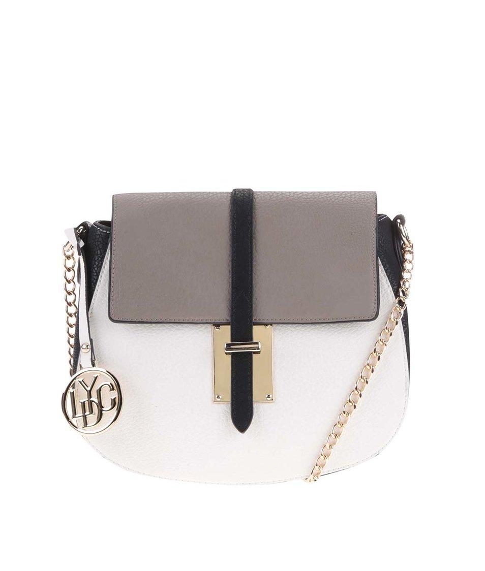 Černo-bílá kabelka s hnědou klopou LYDC