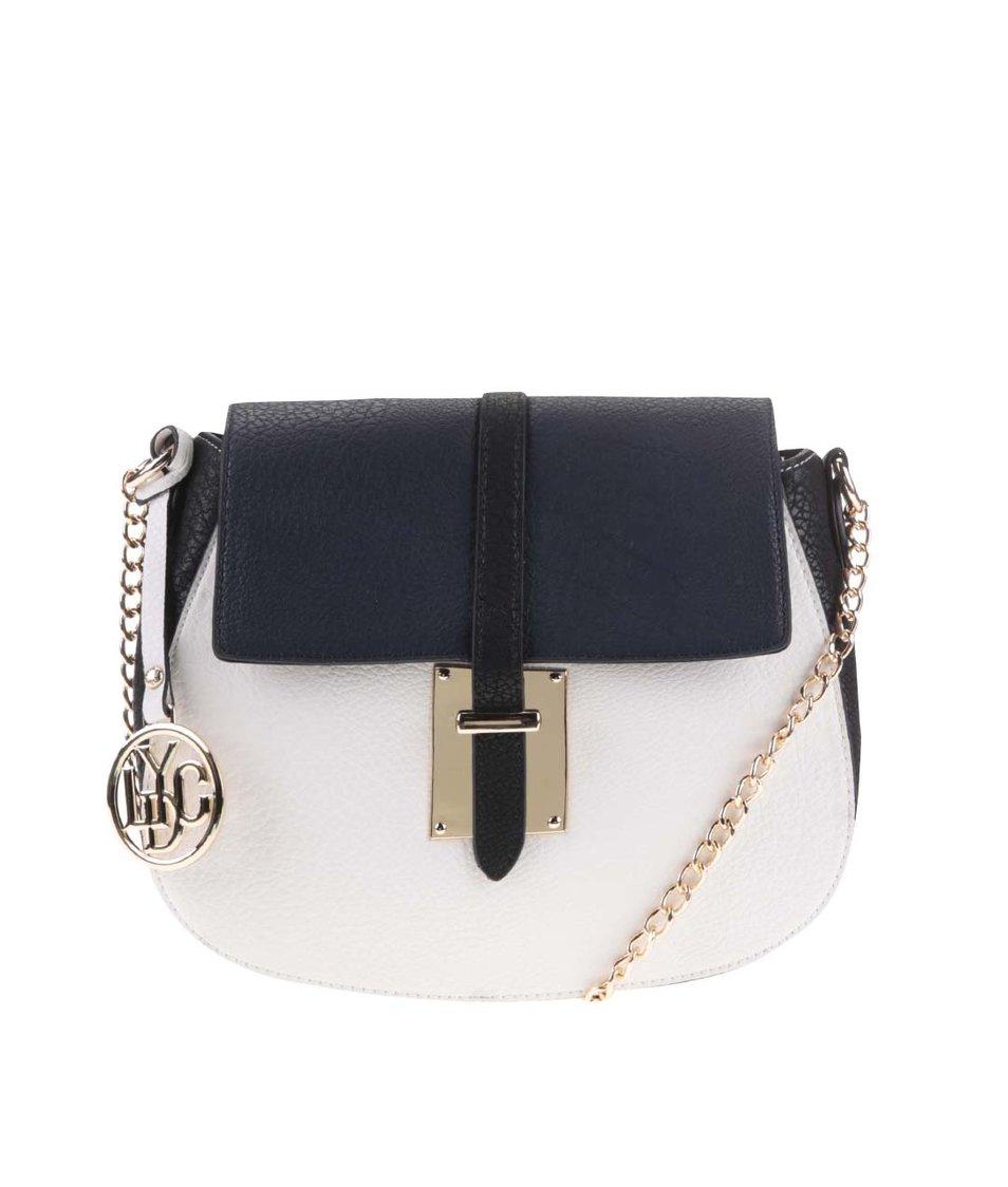 Černo-bílá kabelka s modrou klopou LYDC
