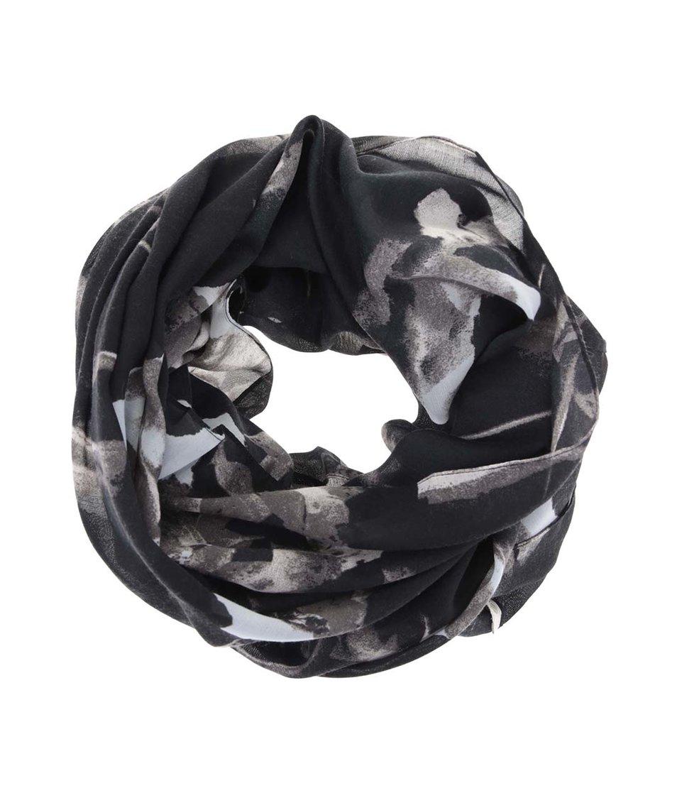 Černý dutý šátek s krémovo-šedým vzorováním Pieces Vari