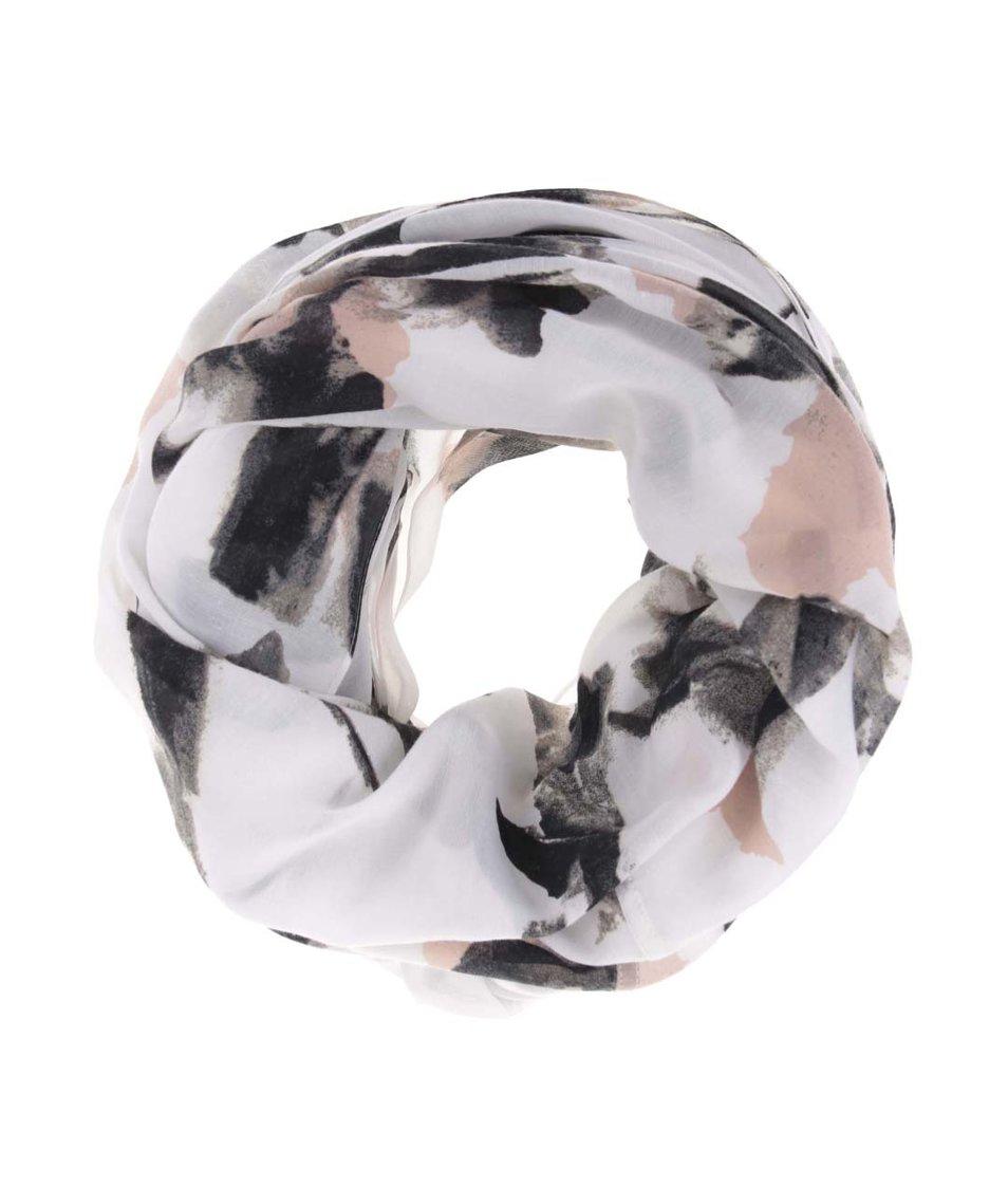 Bílý dutý šátek s barevným vzorováním Pieces Vari