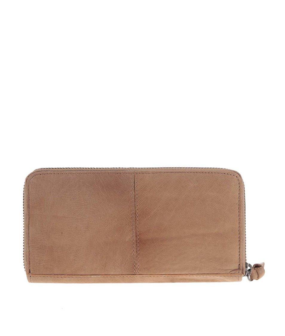 Světle hnědá kožená peněženka Pieces Elrica
