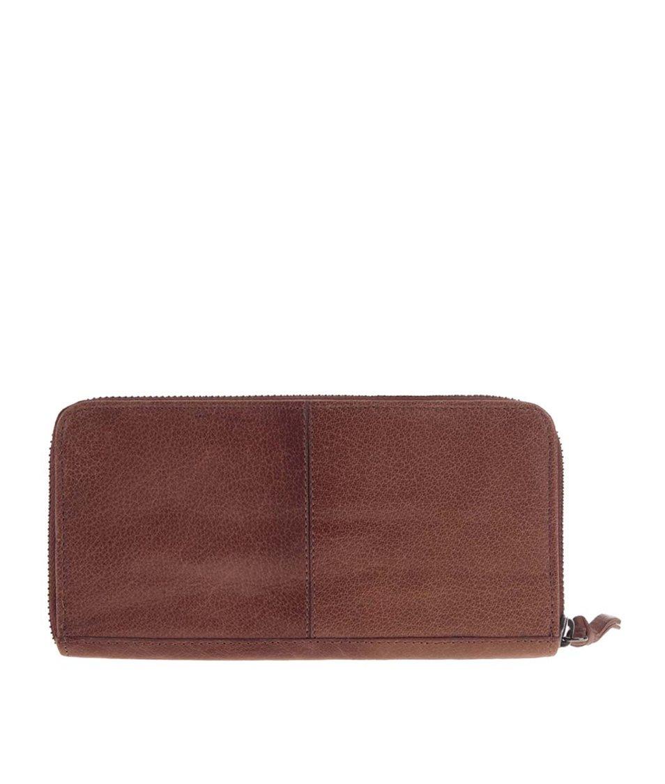 Hnědá kožená peněženka Pieces Elrica