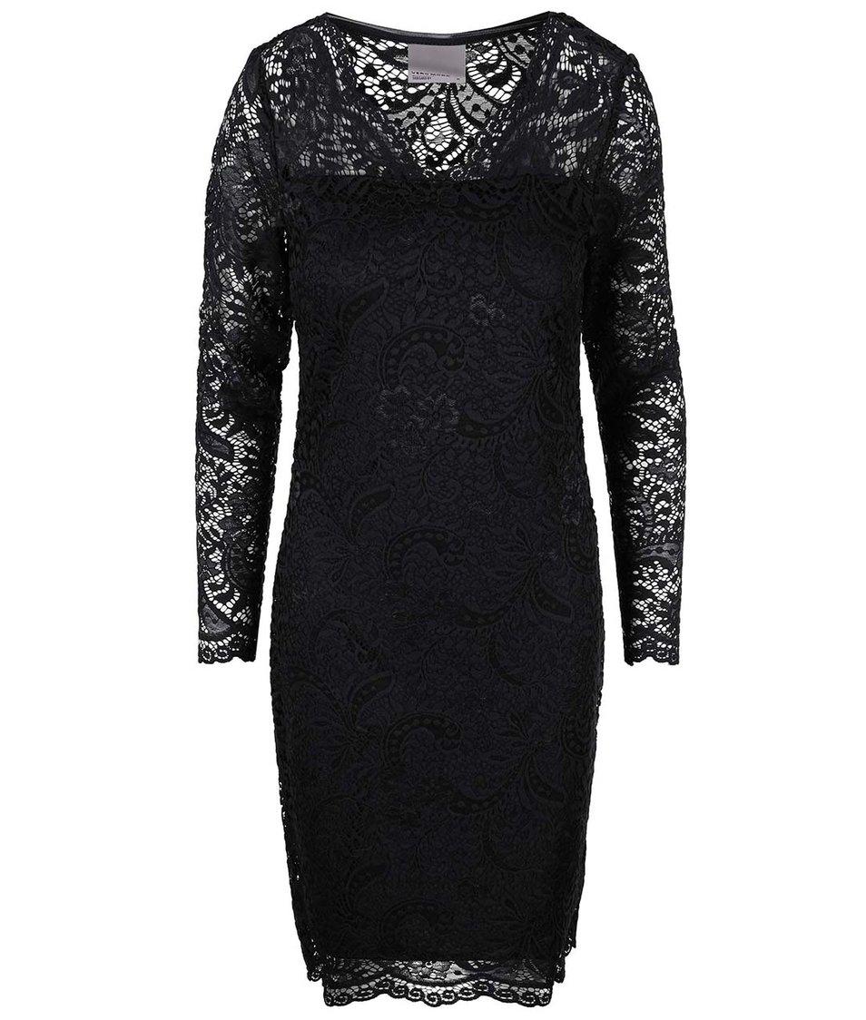 Černé krajkované šaty s dlouhým rukávem Vero Moda Julliana