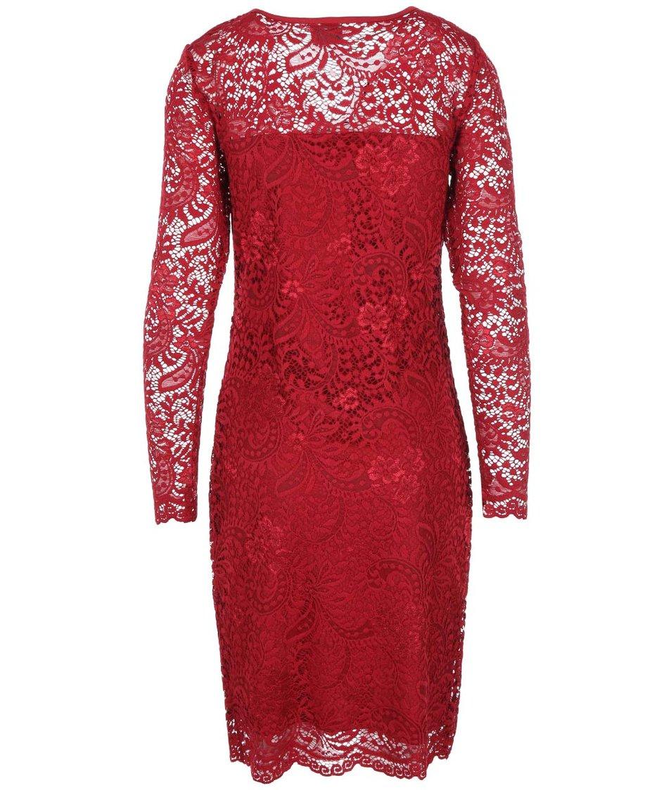 Červené krajkované šaty s dlouhým rukávem Vero Moda Julliana