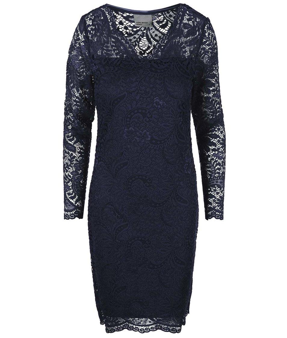 Tmavě modré krajkované šaty s dlouhým rukávem Vero Moda Julliana