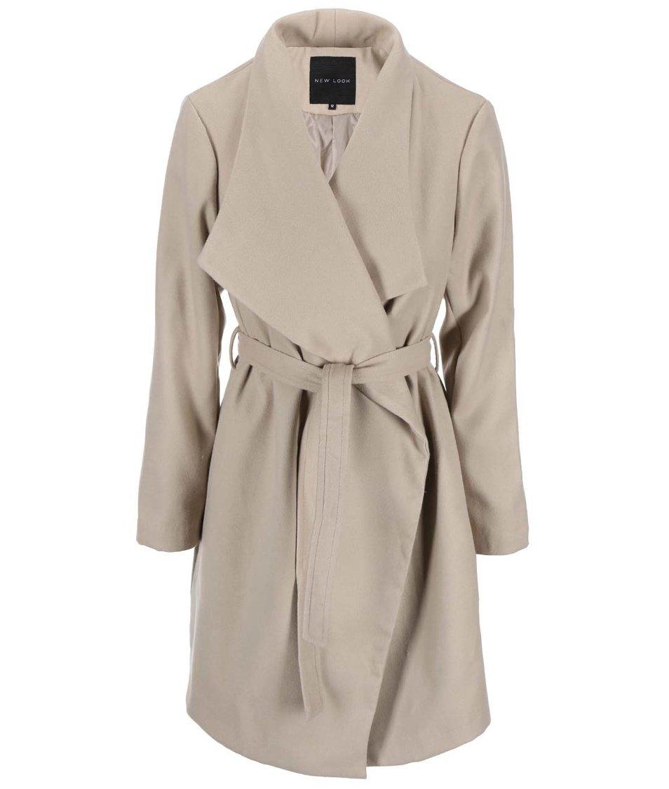 Béžový kabát na zavazování New Look