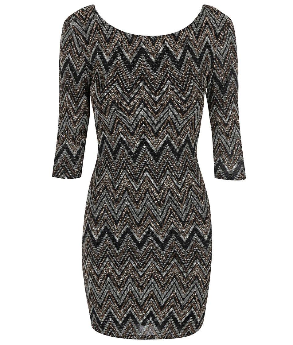 Černo-zlaté vzorované šaty s výstřihem na zádech New Look