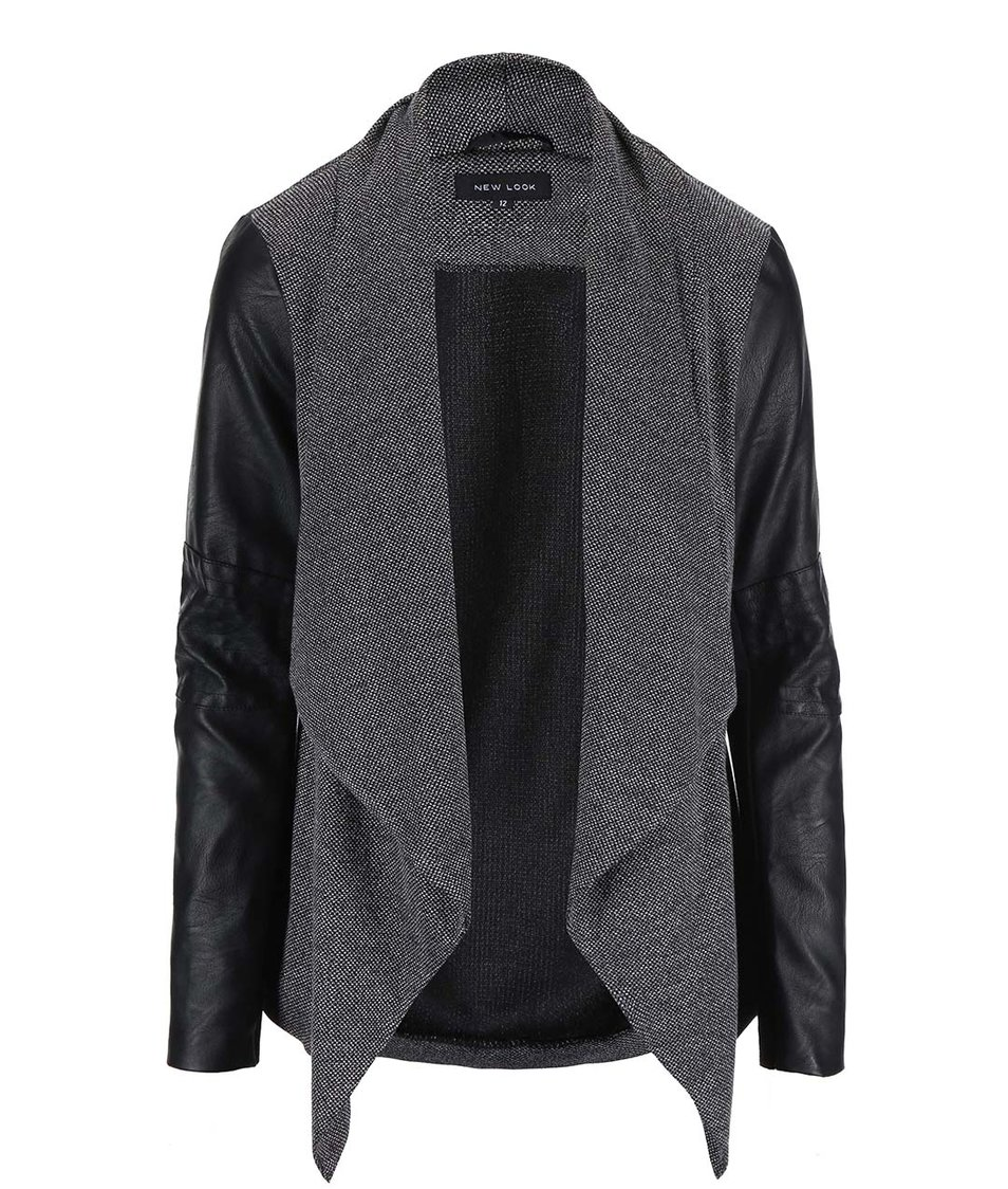 Černo.-šedý blejzr s koženkovými rukávy New Look
