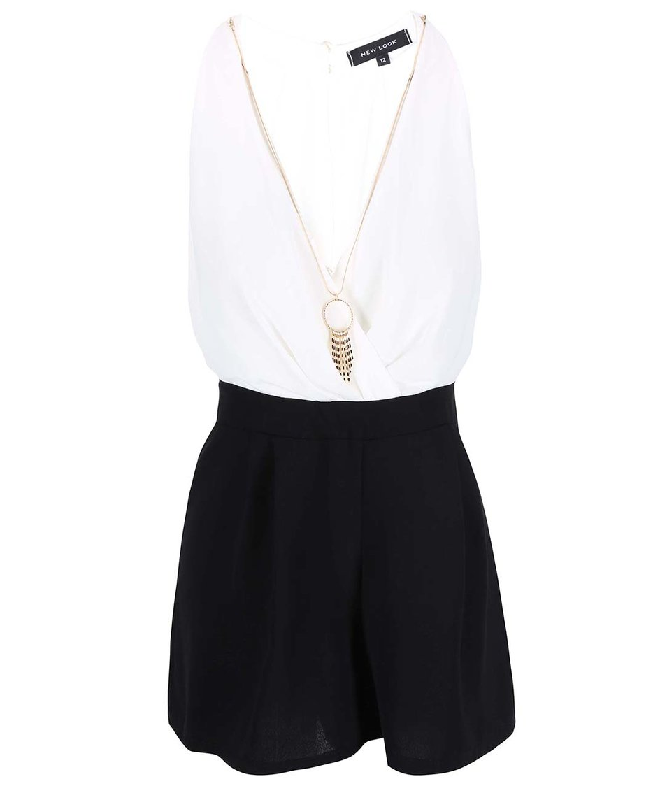 Bílo-černý overal s náhrdelníkem New Look