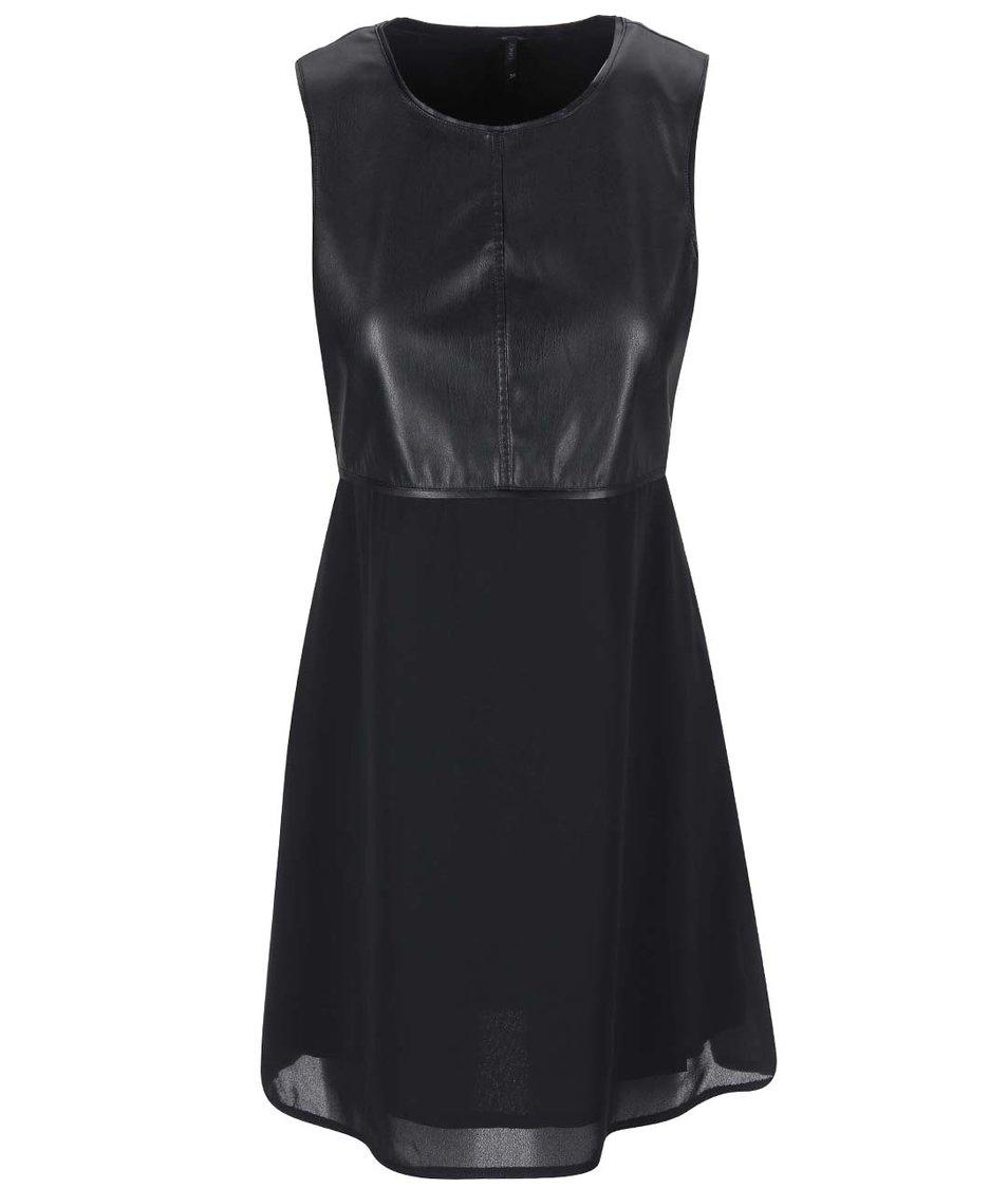 Černé šaty s koženkovým topem ONLY Frankie