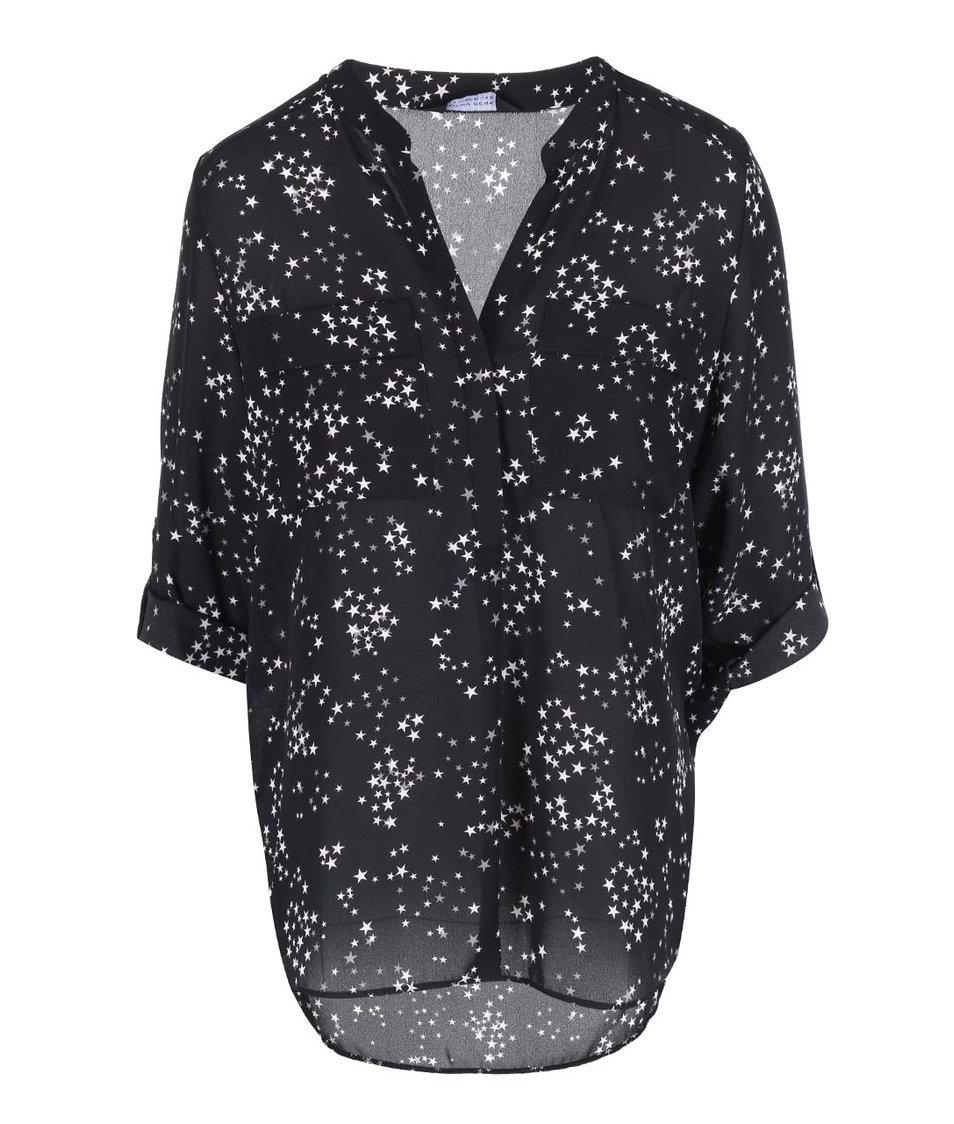 Černá volnější halenka s potiskem hvězd Dorothy Perkins