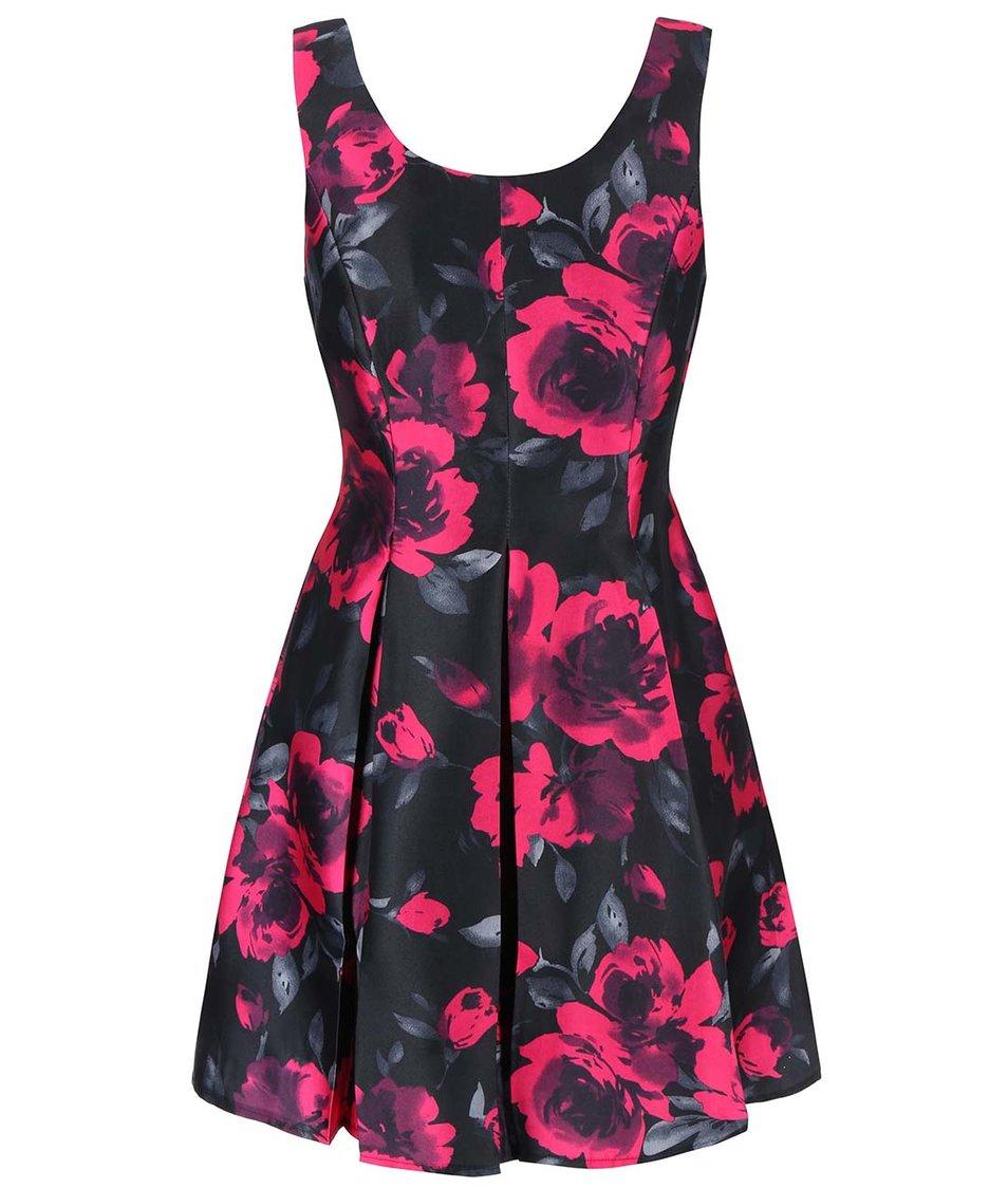 Růžovo-černé mini šaty s květinovým vzorem Girls on Film