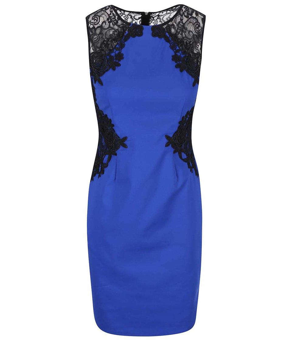 Modré šaty s černou krajkou Paper Dolls