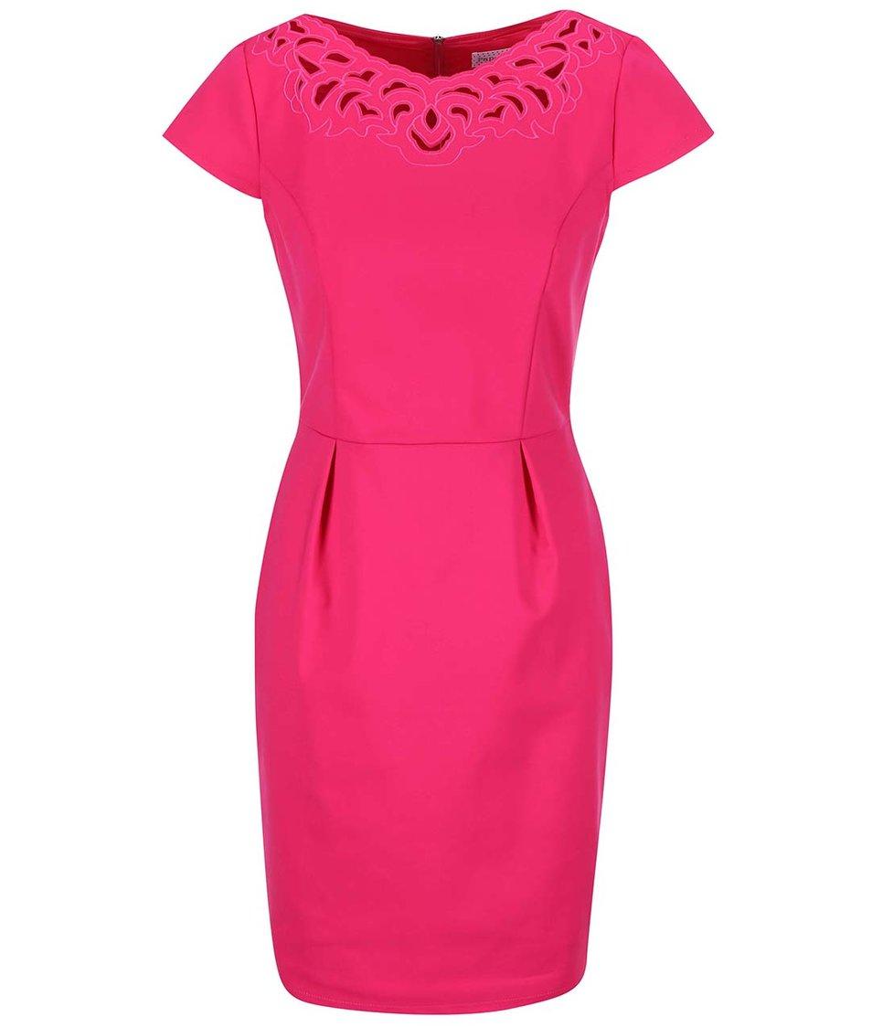Růžové šaty s lodičkovým výstřihem Paper Dolls