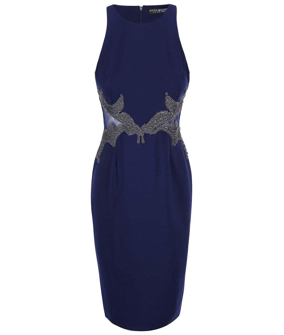 Tmavě modré šaty s detaily Little Mistress