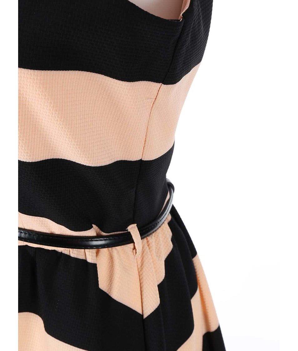 Meruňkovo-černé pruhované šaty s páskem Girls on Film
