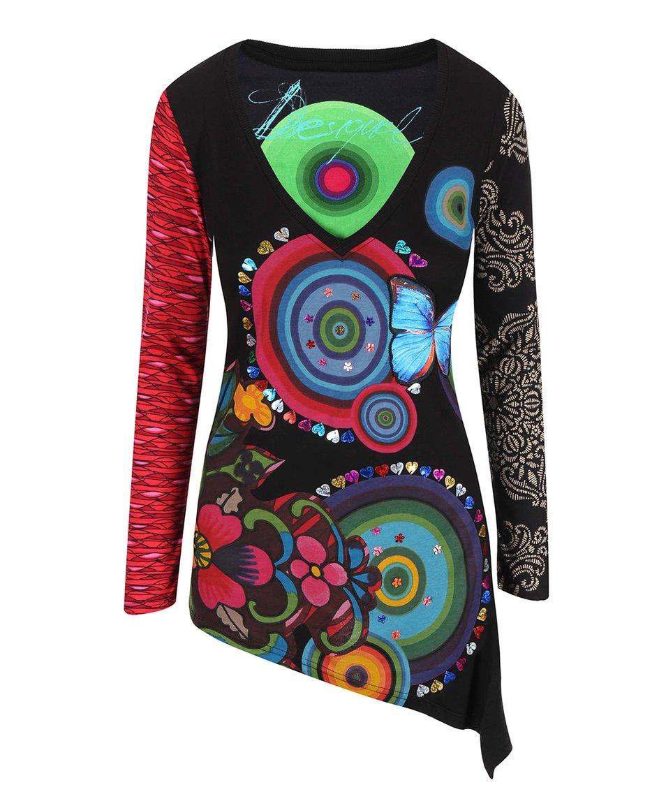 Černé tričko s barevnými vzory Desigual Alice