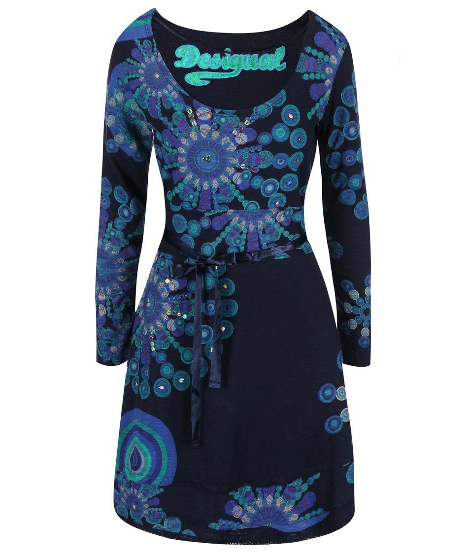 Tmavě modré šaty se vzorem Desigual Saanne