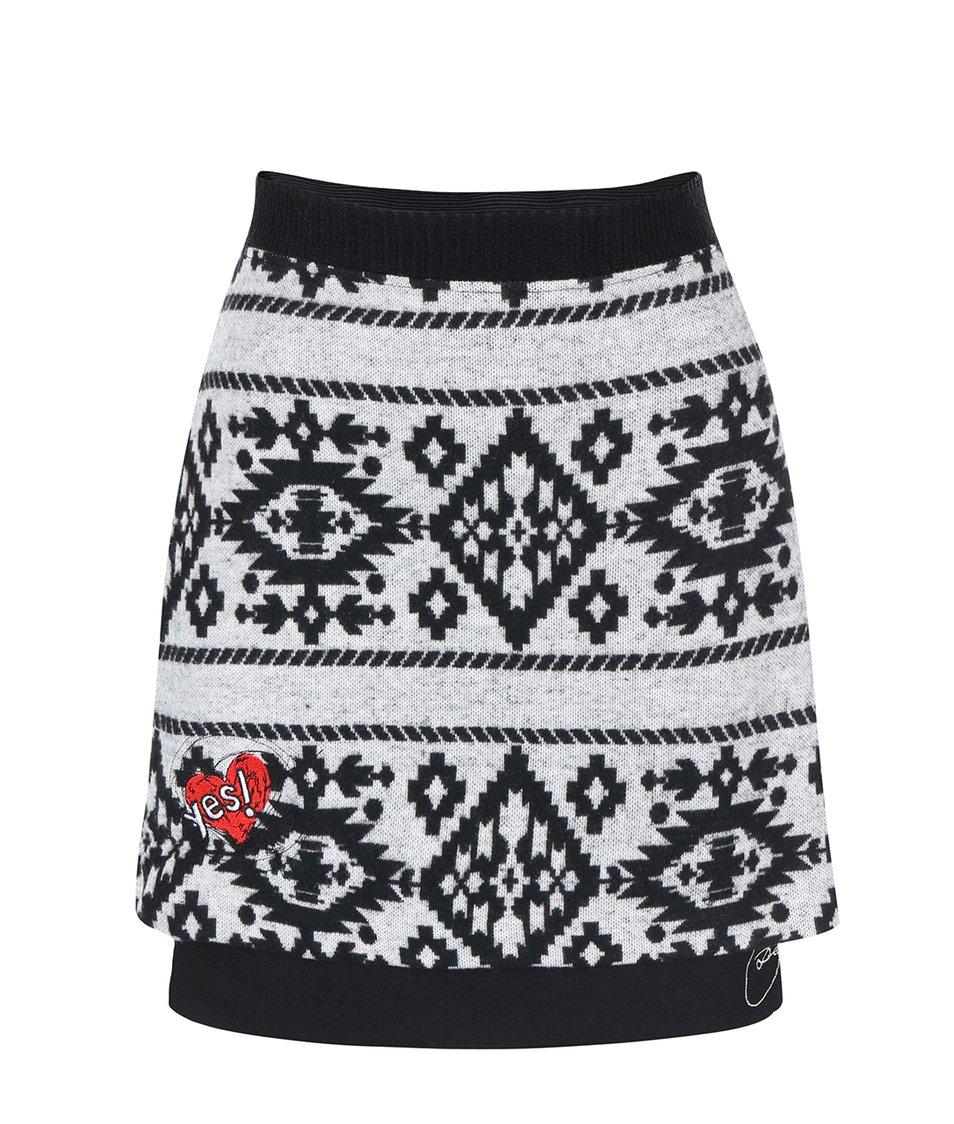 Černo-bílá vzorovaná sukně Desigual Quier