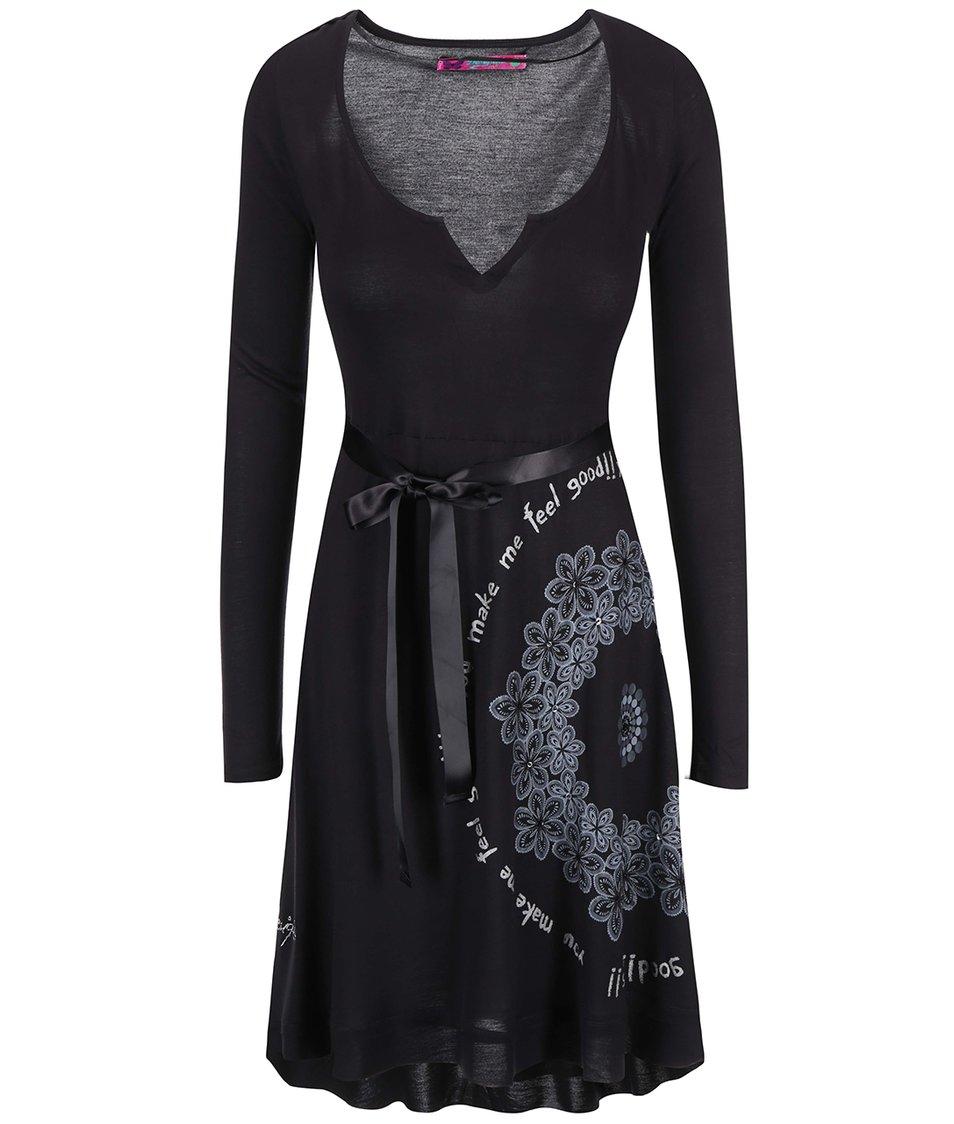 Černé šaty se vzorem Desigual Carolina