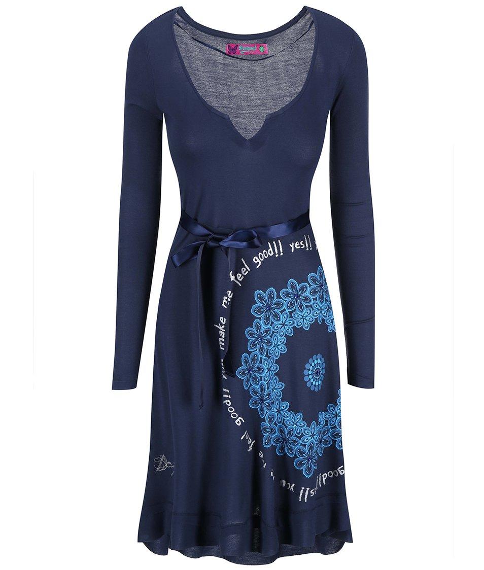 Modré šaty se vzorem Desigual Carolina