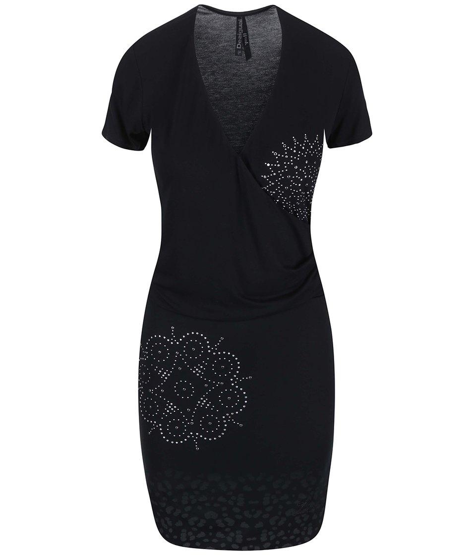 Černé šaty s kovovými detaily Desigual Cintia