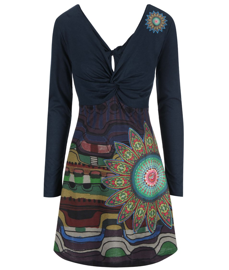 Tmavě modré vzorované šaty Desigual Débora