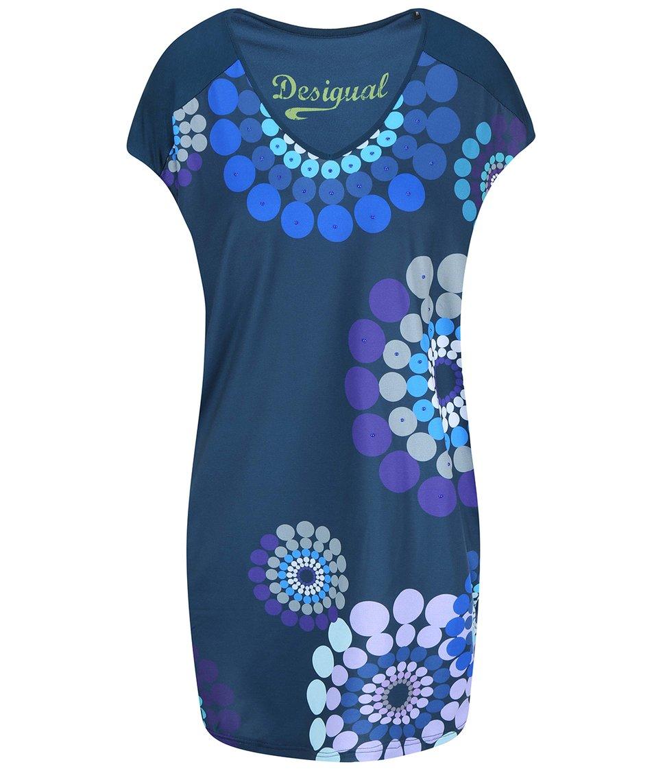 Petrolejové šaty s ornamenty Desigual Leonora