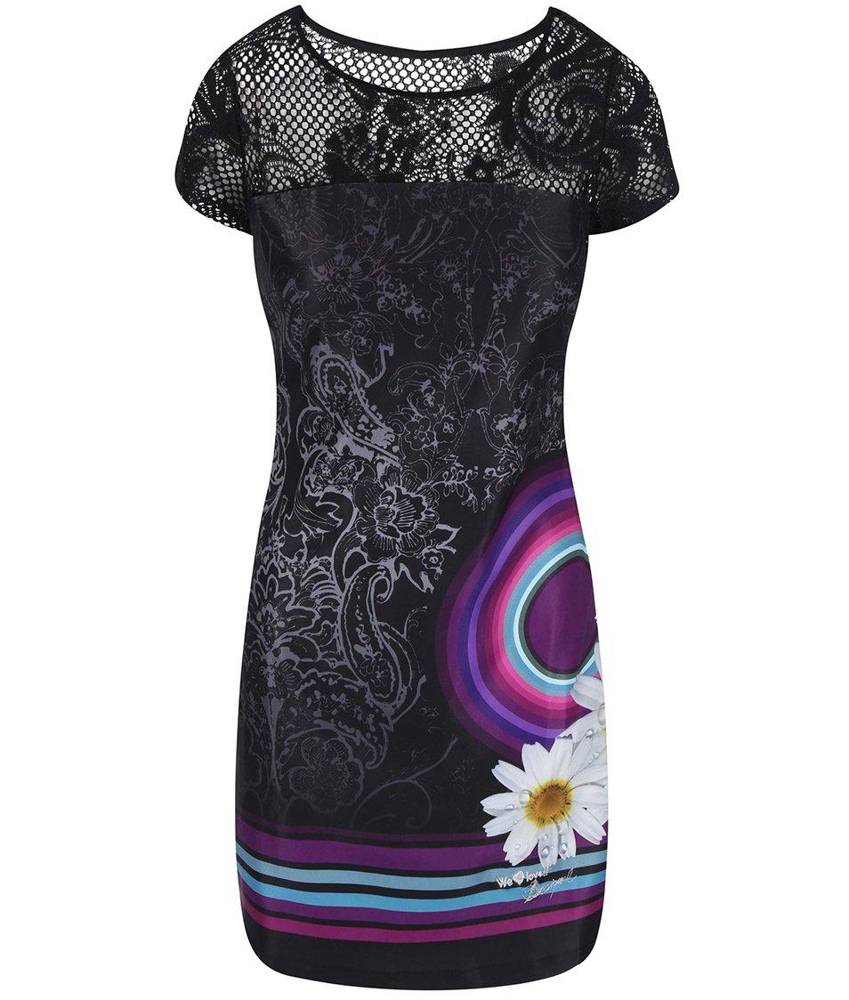 Černé šaty s barevným vzorem Desigual Galactic