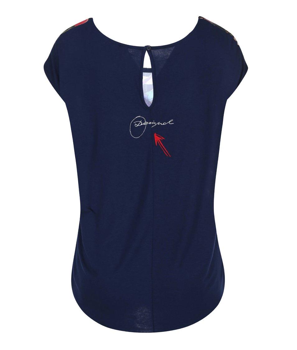 Tmavě modré tričko s barevným potiskem Desigual Melina