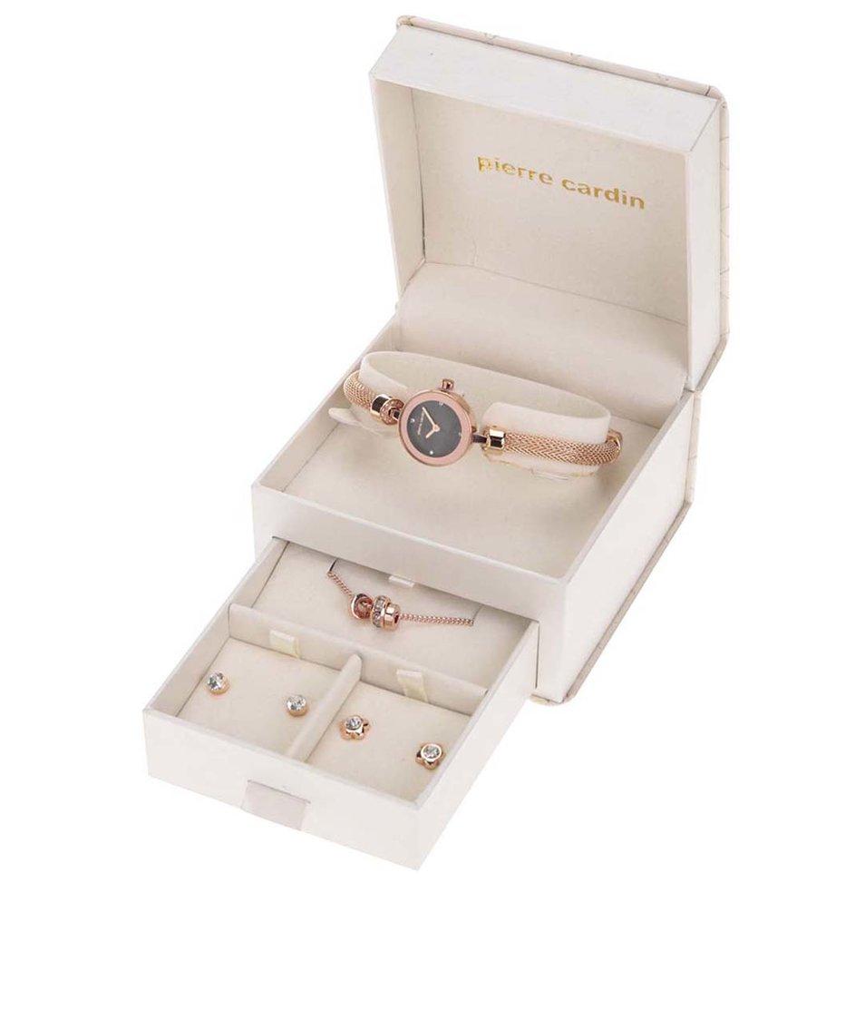 Hodinky se sadou šperků v bílé kazetě Pierre Cardin