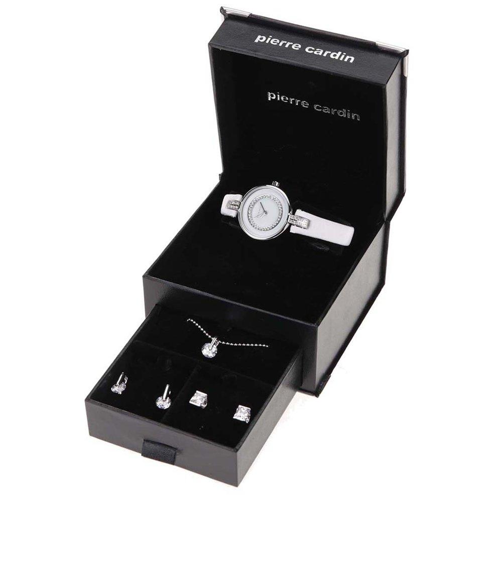 Bílé hodinky se sadou stříbrných šperků v černé kazetě Pierre Cardin