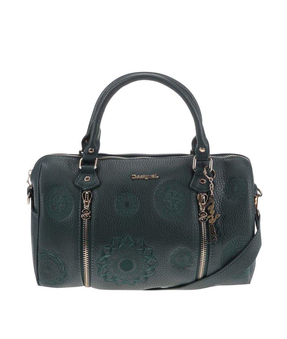 Tmavě zelená kabelka s vyšitými ornamenty Desigual Sidney