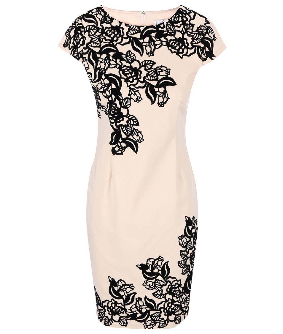 Béžové šaty s krajkovým výstřihem Paper Dolls